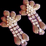 Vintage KRAMER Signed Rhinestone Mesh Dangle Earrings