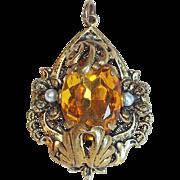 Gorgeous AMBER GLASS RHINESTONE Vintage Pendant
