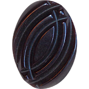 Awesome CARVED BAKELITE Oval Vintage Button