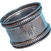 Gorgeous 1918 BIRMINGHAM STERLING Initial W or M Napkin Ring