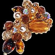 Fabulous KRAMER Signed Rhinestone Vintage Pin Brooch