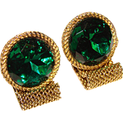 Fabulous GREEN GLASS STONES Mesh Wrap Vintage Estate Cufflinks