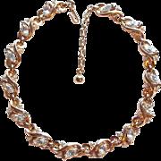 Gorgeous TRIFARI Signed Clear Rhinestone Vintage Necklace