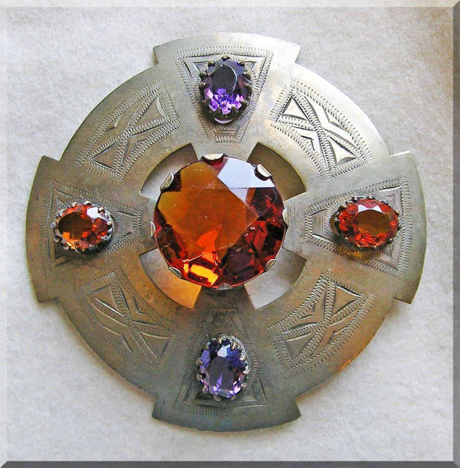 Fabulous VICTORIAN Huge Amber & Purple Glass Kilt Sash Pin Brooch