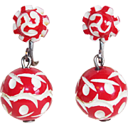 Gorgeous ART DECO Carved Red Celluloid Vintage Earrings
