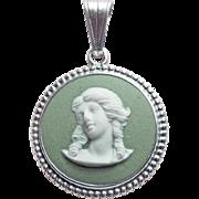 Gorgeous WEDGWOOD Sterling & Jasperware Lady Vintage Pendant
