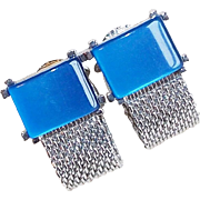 Vintage Blue Moonglow Lucite Wrap Cufflinks