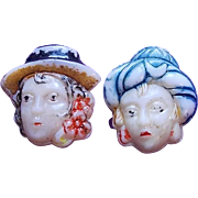 2 Vintage Glass LADY IN HAT Buttons