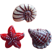 3 Vintage Glass Shell & Starfish Estate Buttons