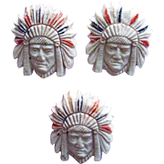 Awesome INDIAN CHIEF Vintage Plastic Buttons