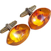 Gorgeous 835 SILVER & AMBER Signed Vintage Cufflinks