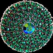 Gorgeous GREEN RHINESTONE Vintage Pin Brooch