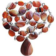 Fabulous BANDED AGATE Vintage Necklace