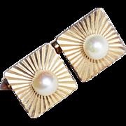 Signed KREMENTZ Cultured Pearl Vintage Cufflinks