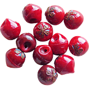 Gorgeous Antique Red Glass Buttons