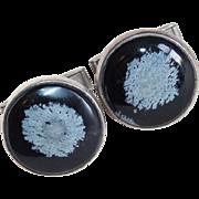 Sterling & Snowflake Obsidian Vintage Estate Cufflinks