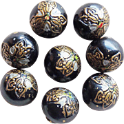 Antique Black Enamel Victorian Buttons