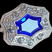 Tiny Antique Blue Glass & Rhinestone Pin Brooch