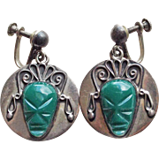 Gorgeous MEXICAN STERLING Carved Face Vintage Earrings