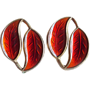Red DAVID ANDERSEN Sterling & Enamel Signed Vintage Earrings