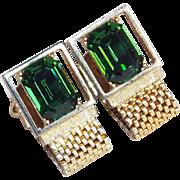 Gorgeous GREEN RHINESTONE Vintage Mesh Wrap Cufflinks