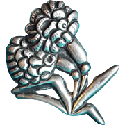 Fine MEXICAN SILVER Large Flower Vintage Pin Brooch