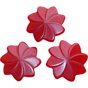 Vintage Bakelite Carved Red Flower Buttons