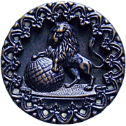 Antique LION & GLOBE Large Picture Story Button