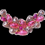 Gorgeous Pink & Lavender Rhinestone Vintage Pin Brooch