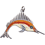 Gorgeous STERLING & ENAMEL Signed JF Mexican Fish Vintage Pendant