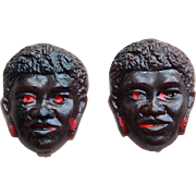 Vintage BLACK BOY or Man Negro Early Plastic Face Buttons