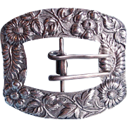 Fabulous Antique Repousse Sterling Huge Floral Buckle