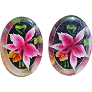 Gorgeous Orchid Reverse Carved Lucite Vintage Earrings