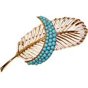 Fabulous TRIFARI Vintage Enamel & Turquoise Colored Stones Plume Brooch