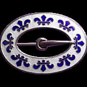 Fabulous Antique Sterling & Enamel Fleur de Lis Sash Pin Brooch
