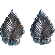 Gorgeous JEWEL ART STERLING Signed Leaf Vintage Earrings