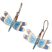 Fabulous STERLING & ENAMEL Dragonfly Design Estate Earrings