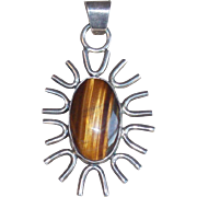 Gorgeous Mexican Sterling & Tigers Eye Signed Jesus Vintage Pendant
