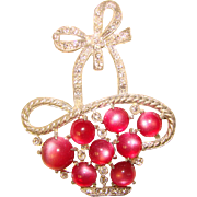 Fabulous 1940s Pink Moonglow Lucite & Rhinestone Basket Vintage Brooch