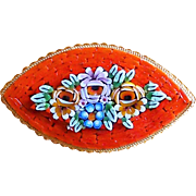 Fabulous Micro Mosaic Raised Center Tiles Vintage Pin Brooch