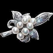 Gorgeous Sterling & Cultured Pearl Vintage Brooch