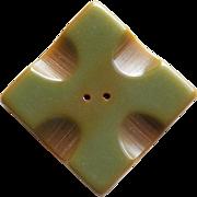Large Green Carved Bakelite Vintage Button