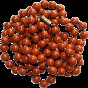 Art Deco Burnt Orange Glass Beads Necklace
