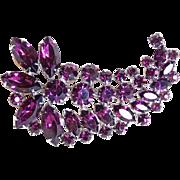 Fabulous Purple Rhinestone Vintage Brooch