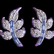 Gorgeous Pell Signed Rhinestone Vintage Earrings