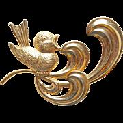 Super Cute Sterling Song Bird Signed Forstner Vintage Brooch