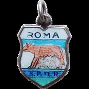Vintage 800 Silver & Enamel Roma Charm