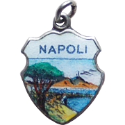 Vintage 800 Silver & Enamel Napoli Charm