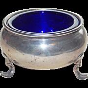 Gorgeous Sterling & Cobalt Glass Vintage Open Salt