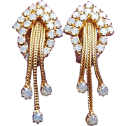 Gorgeous Opalescent Rhinestone Dangle Vintage Earrings